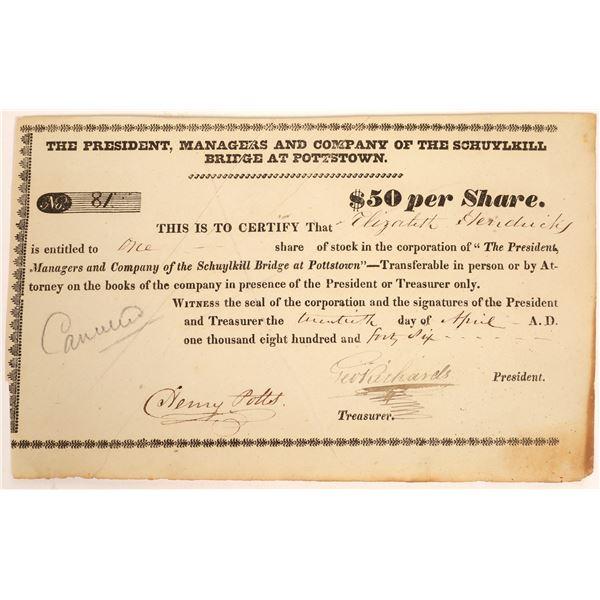Schuylkill Bridge at Pottstown Company Stock Certificate  [134134]