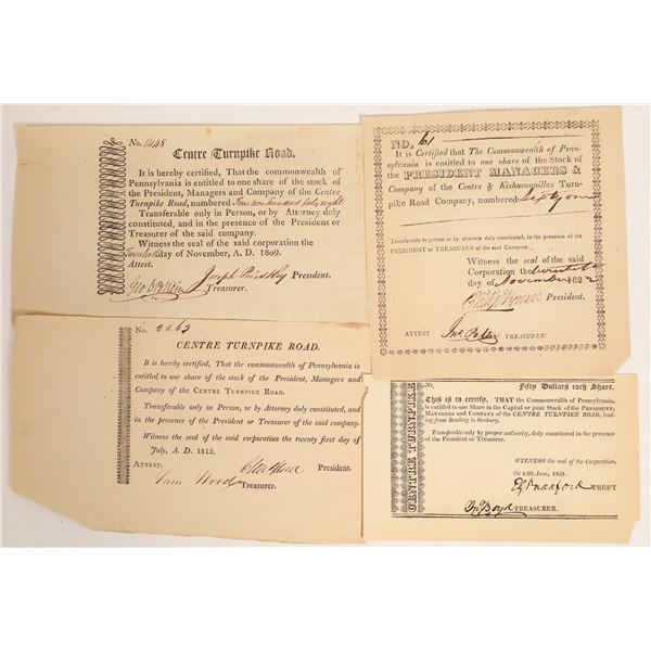 Centre Turnpike Stock Certificates, four varieties  [132770]
