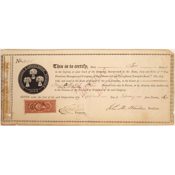 Chesnut-hill & Springhouse Turnpike Road Co. Stock Certificate  [134132]