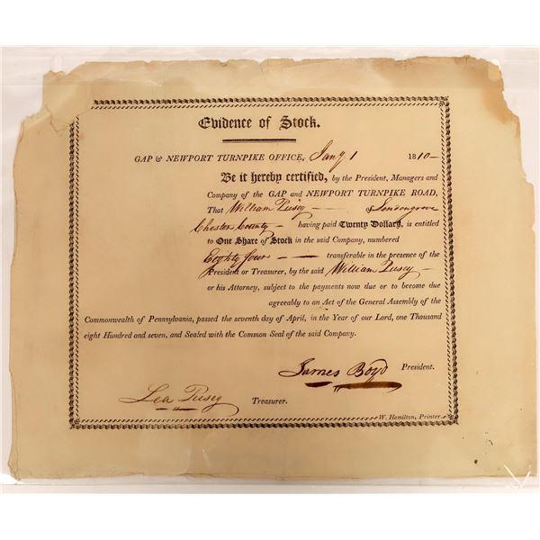 Gap and Newport Turnpike Road Stock Certificate, 1810  [118374]