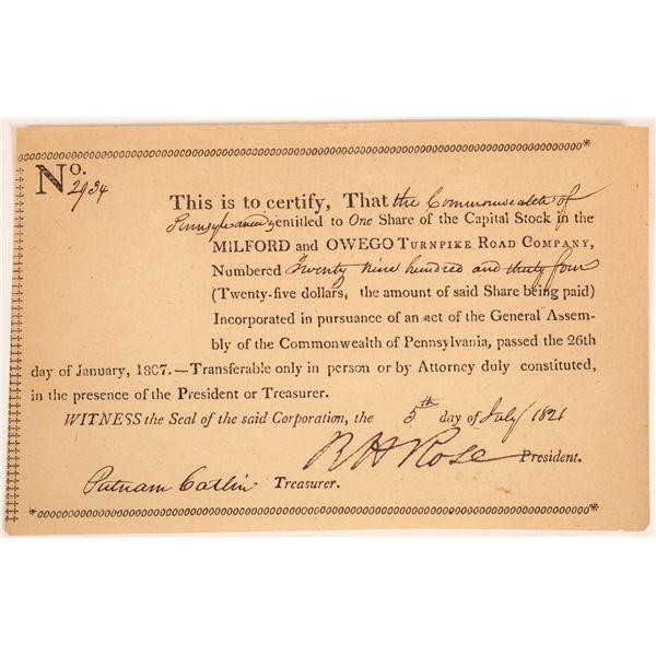 Milford & Owego Turnpike Road Company Stock Certificate  [134126]