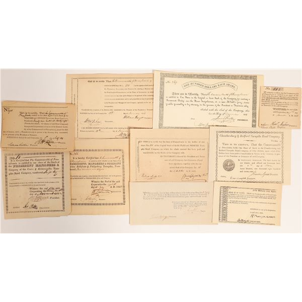 Pennsylvania Turnpike Stock Certificate Collection, 10 different  [132765]