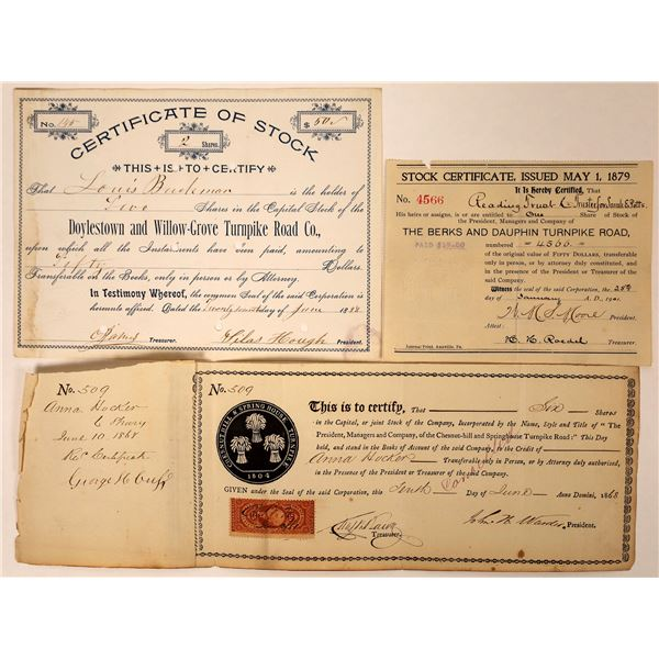 Pennsylvania Turnpike Stock Certificates (3)  [127601]