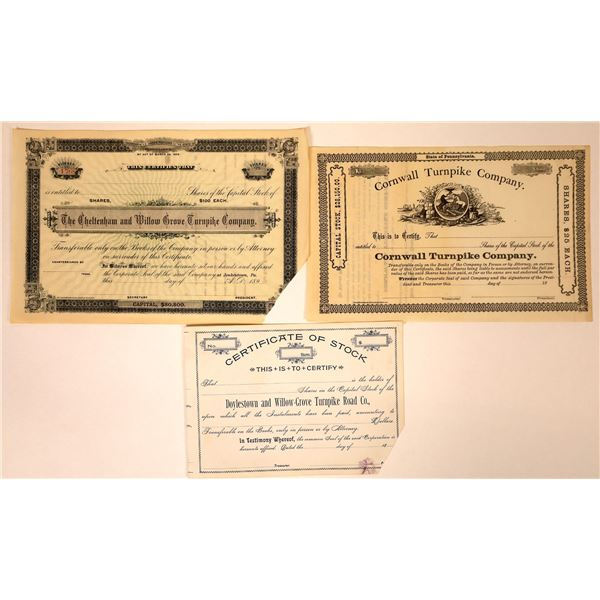 Unissued Pennsylvania Turnpike Stock Certificates (3)  [127600]