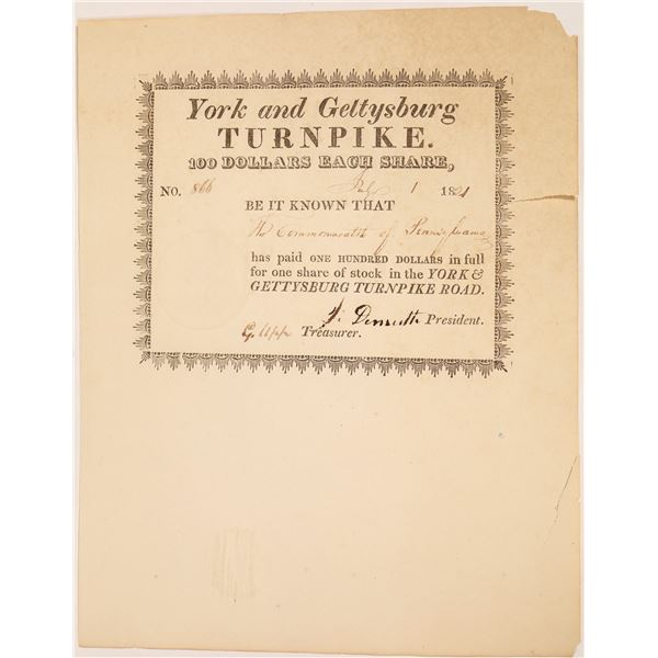York & Gettysburg Turnpike Road Stock Certificate  [134117]