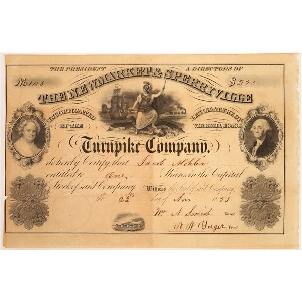 Newmarket & Sperryville Turnpike Company Stock Certificate  [134130]