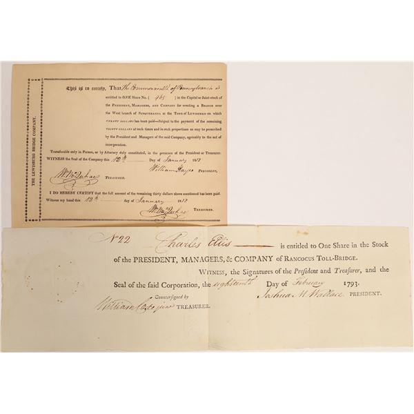 Early Bridge Company Stock Certificates, 1793 to 1818  [132769]