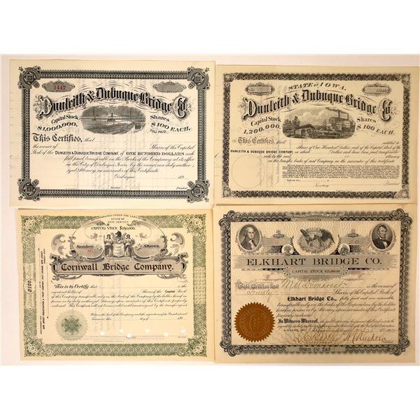 Bridge Companies Stock Certificates from Indiana, Iowa & NJ (4)  [127984]