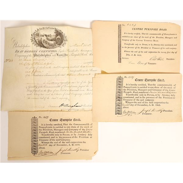 Early Turnpike Certificate Group (4)  [132772]