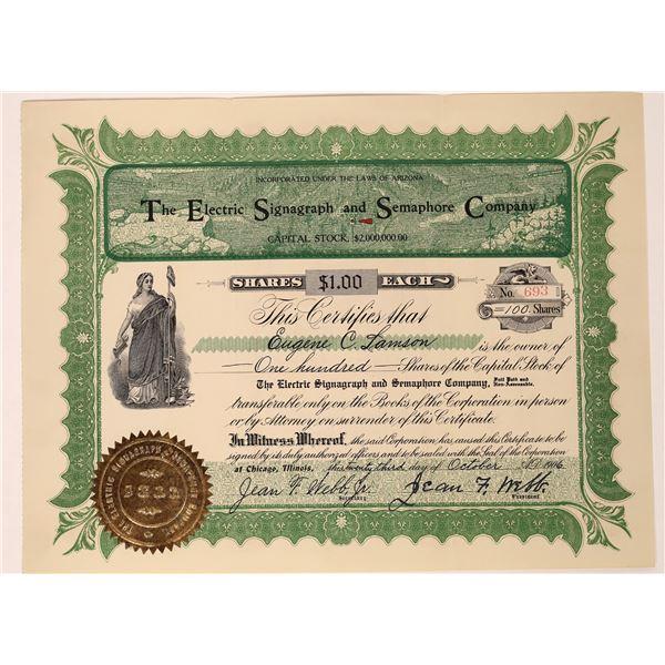 Electric Signagraph & Semaphore Company Stock Certificate  [128261]