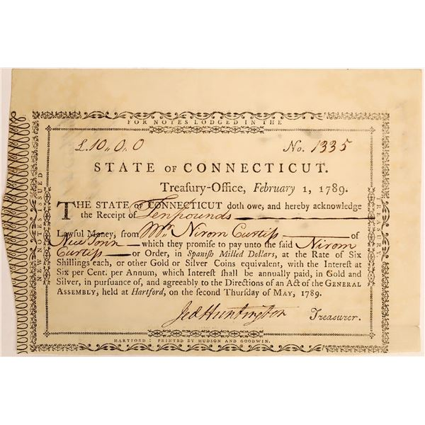 State of Connecticut Ten Pound Note, 1789  [118363]