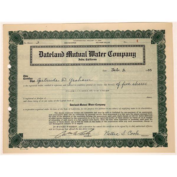 Dateland Mutual Water Company Stock Cert  [129752]