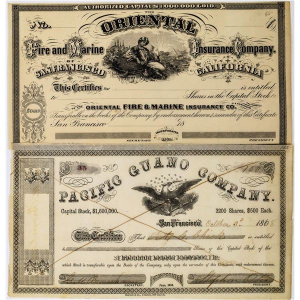 Two San Francisco Stock Certificates: Pacific Guano Co. and Oriental Insurance Co.  [135408]