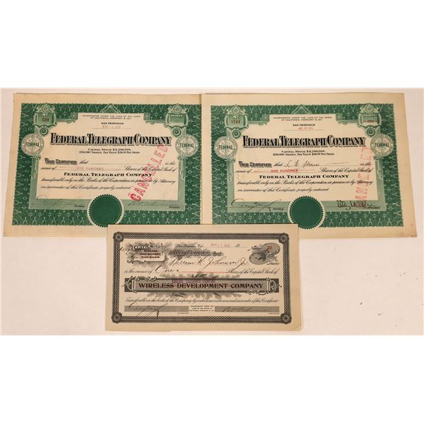 Federal Telegraph Company Stock Certificates (3)  [135427]