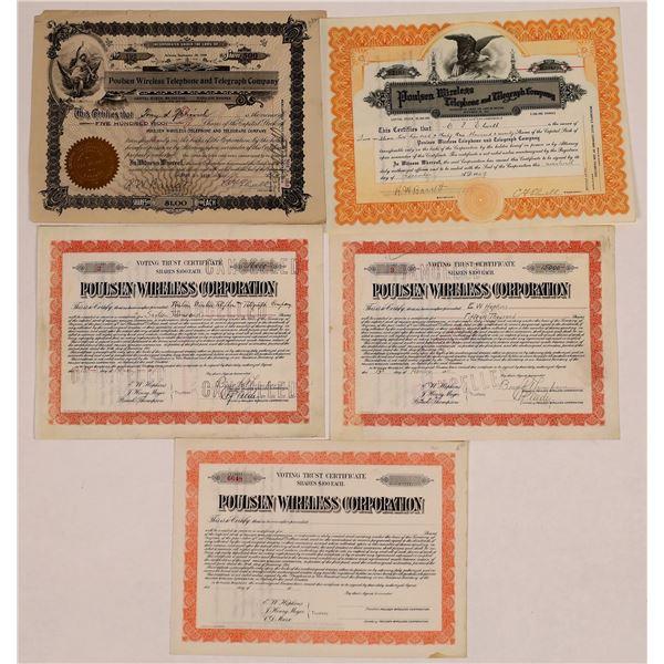 Poulsen Wireless Telephone & Telegraph Co. Stock Certificate Group  [135433]