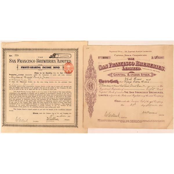 San Francisco Breweries Stock and Bond - Both English   [123289]