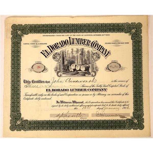 El Dorado Lumber Company Stock Certificate  [129751]