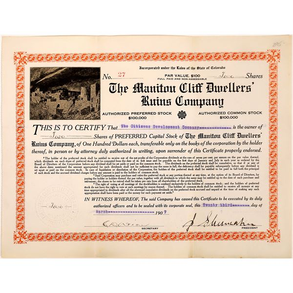 Manitou Cliff Dwellers' Ruins Co. Stock Certificate  [135431]