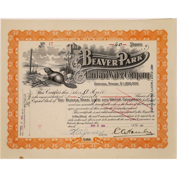 Beaver Park Land & Water Company Stock Certificate  [135435]