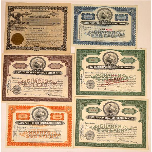 Colt's Firearms Stock Certificates (6)  [129761]