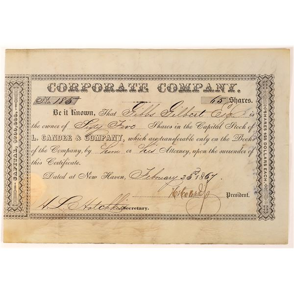 Rubber Boot & Shoe Manuf. L. Candee & Company Stock Certificate 1867  [127611]