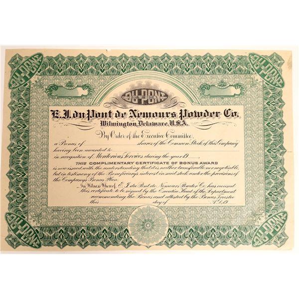 E.J. duPont de Nemours Powder Co. Certificate for Bonus Shares  [127965]