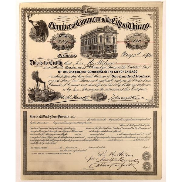 Chamber of Commerce of the City of Chicago Stock Certificate  [127961]