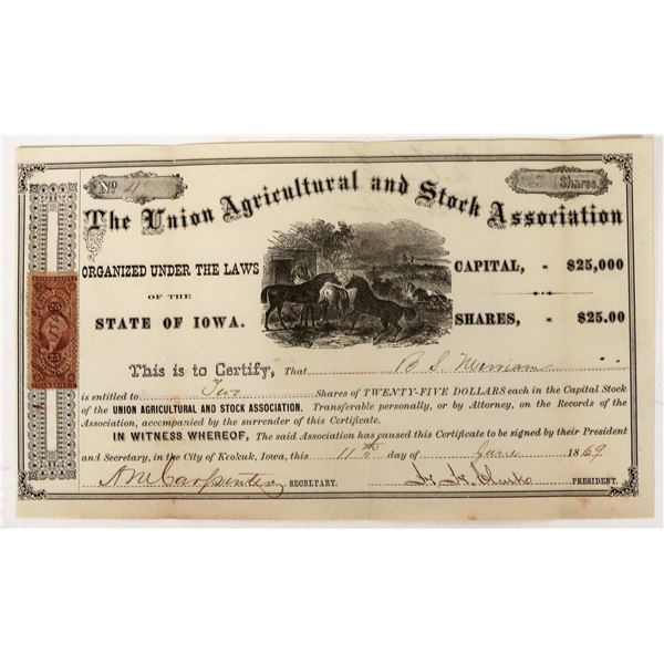 Union Agricultural and Stock Association Stock with 25c Large Revenue Stamp  [123259]