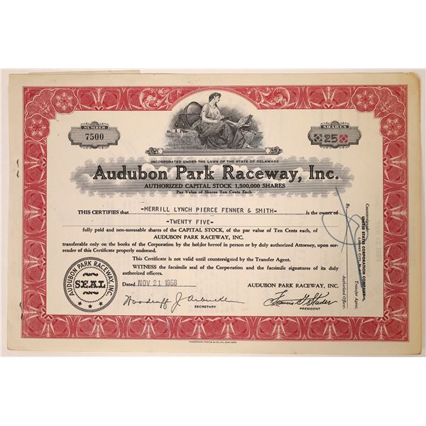 Audubon Park Raceway Stock Certificate  [131871]