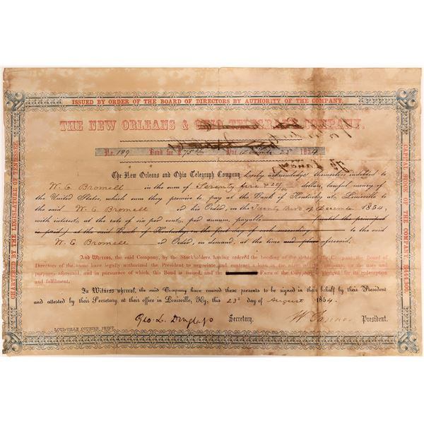 New Orleans and Ohio Telegraph Company Bond Certificate, 1854, Rare  [118368]
