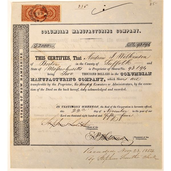Columbian Manufacturing Company 1854 Stock Certificate  [127602]