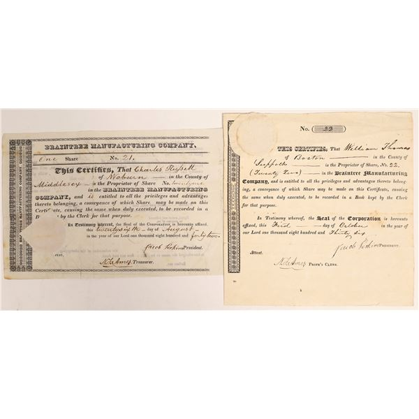 Braintree Manufacturing Company Stock Certs  [128264]