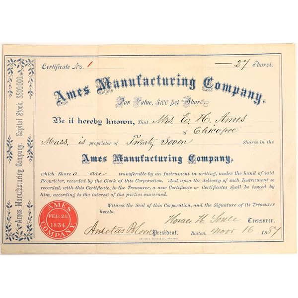 Ames Manufacturing Company Stock Certificate #1  [129762]