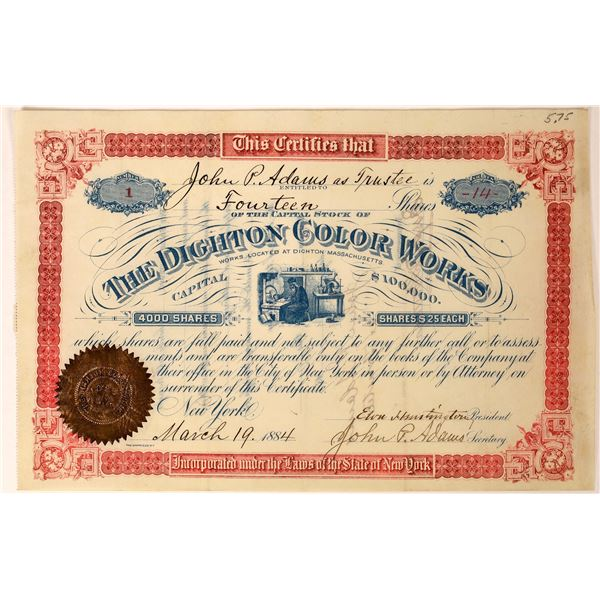 Dighton Color Works Stock Certificate Pristine 1884  [127608]