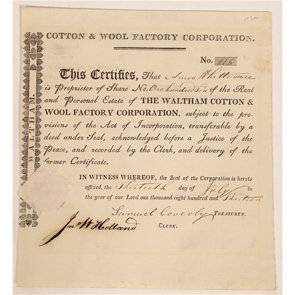 Waltham Cotton & Wool Factory Corporation Stock Certificate  [134153]