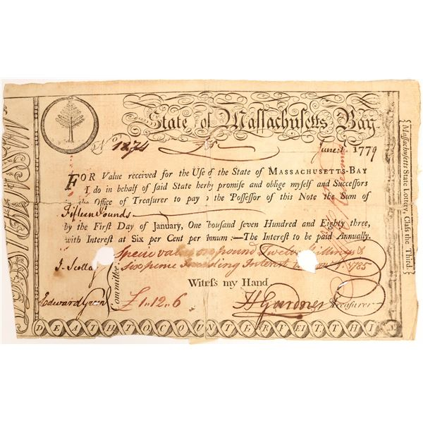 State of Massachusetts Bay Lottery Certificate, 1779.   [132715]
