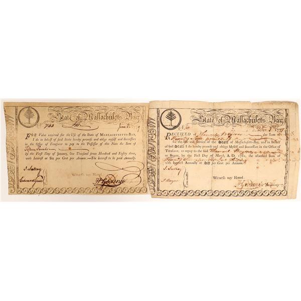 Two Early Massachusetts Bay Bonds  [132713]