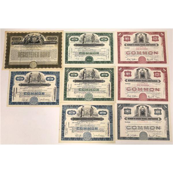 Detroit & Canada Tunnel Corporation Stock Certificates & Bond  [127963]