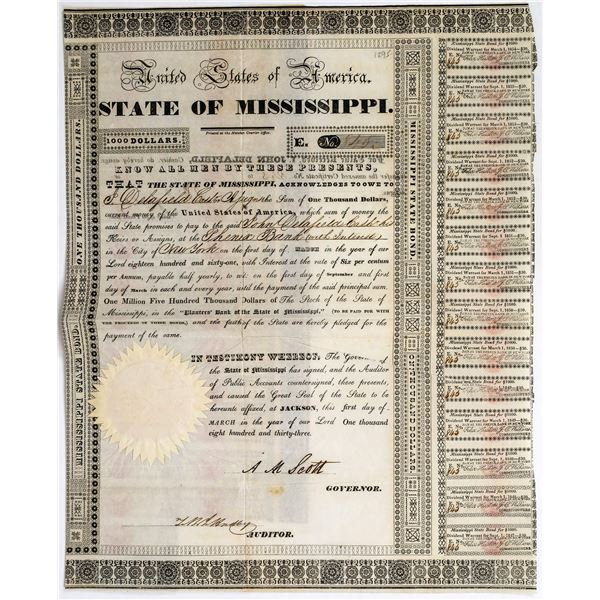 1833 State of Mississippi Bond  [113738]