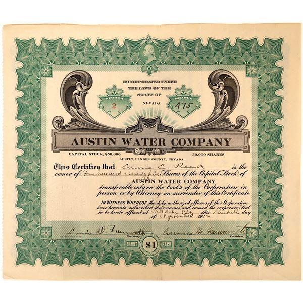 Austin Water Company Nevada Stock Certificate  [127974]