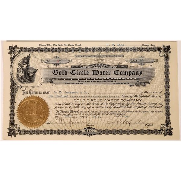 Gold Circle Water Company Stock Certificate (Midas, Nevada)  [127975]
