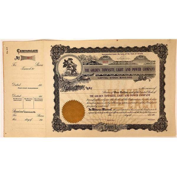 Golden Townsite, Light and Power Company Nev. Ghost Town Stock Certificate  [127973]