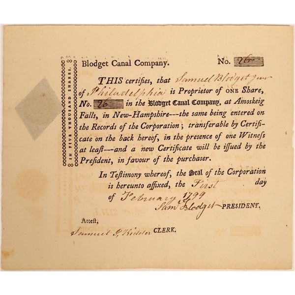 Blodget Canal Company Stock Certificate  [134108]
