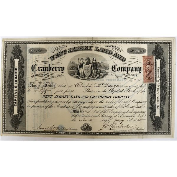 West Jersey Land and Cranberry Company Stock with map on reverse  [123263]
