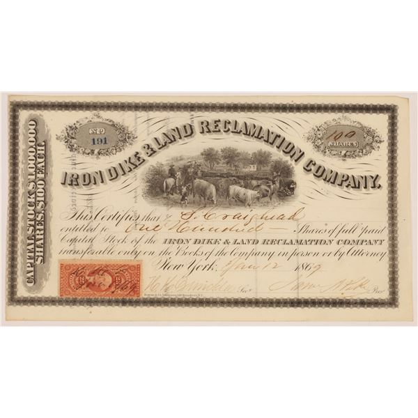 Iron Dike & Land Reclamation Company Stock Certificate  [134156]