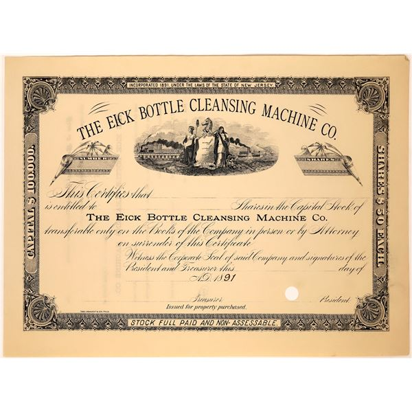 Bottle Cleaning Machine Company Stock Cert  [128263]