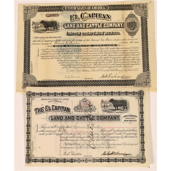 El Capitan Land & Cattle Company Bond and Stock Certificate  [135438]