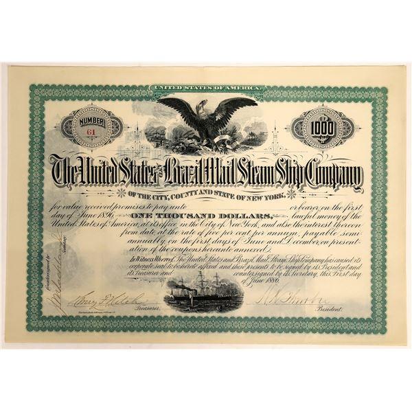 United States & Brazil Mail Steam Ship Company Bearer Bond Certificate, 1886  [111856]