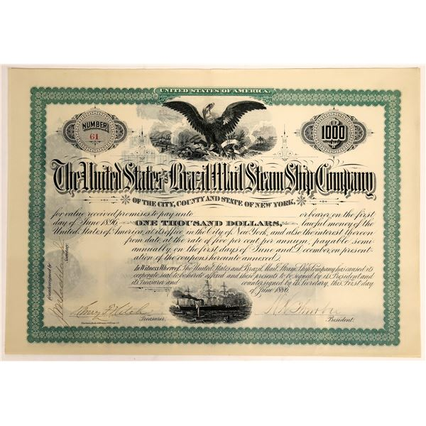 United States & Brazil Mail Steam Ship Company Bearer Bond Certificate, 1886  [111856]