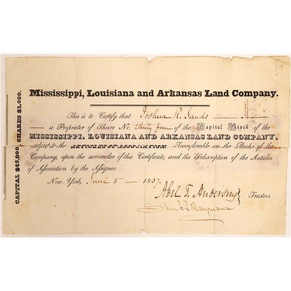 Mississippi, Louisiana and Arkansas Land Company Stock Certificate  [134154]